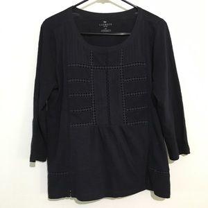 Talbots Petites Navy Short Sleeve Shirt
